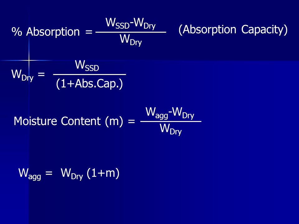 % Absorption = WSSD-WDry. WDry. (Absorption Capacity) WDry = WSSD. (1+Abs.Cap.) Moisture Content (m) =