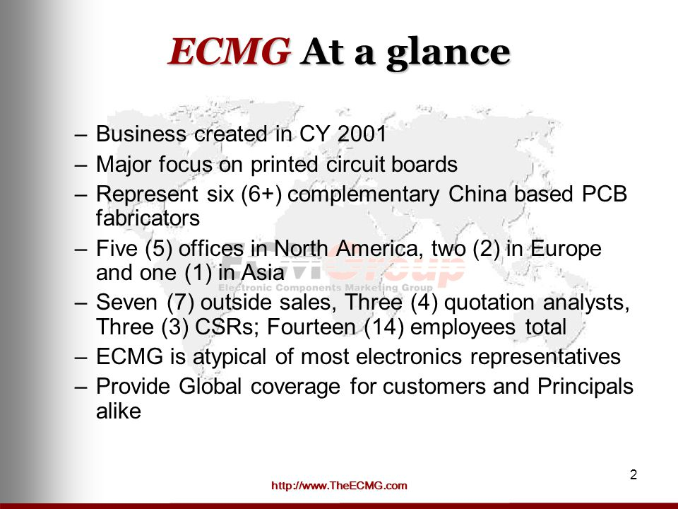ECMG At a glance Business created in CY 2001