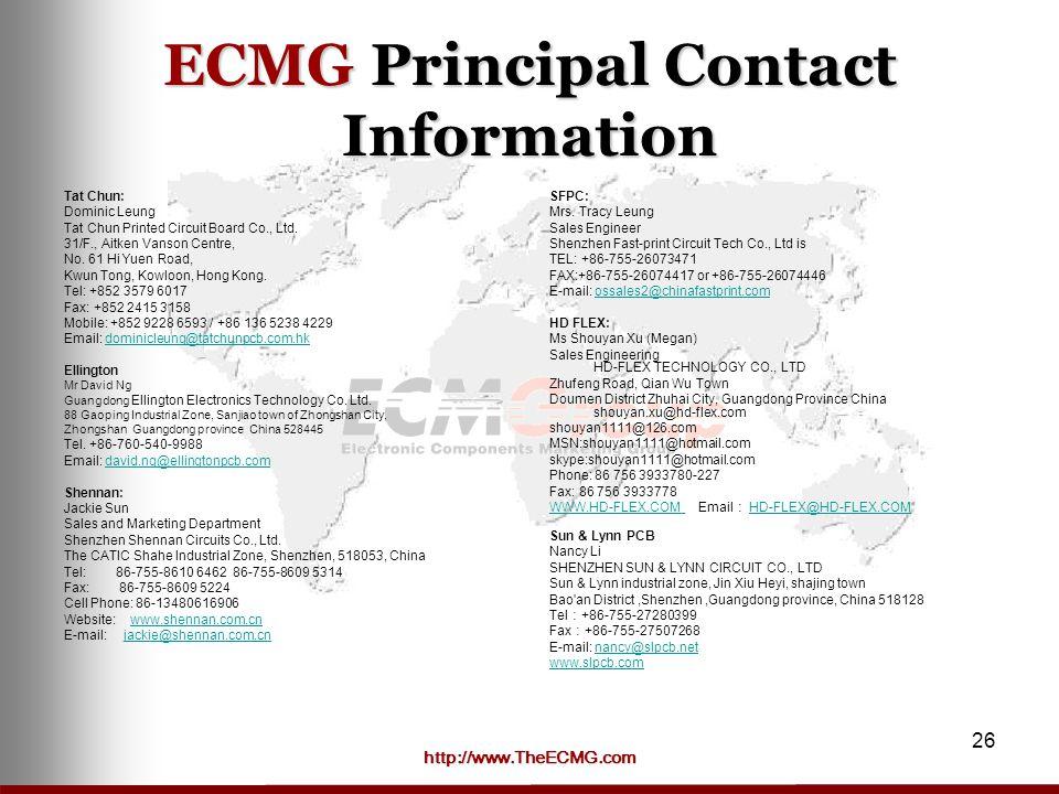 ECMG Principal Contact Information Tat Chun: Dominic Leung. Tat Chun Printed Circuit Board Co., Ltd.
