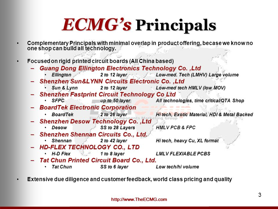 ECMG's Principals Guang Dong Ellington Electronics Technology Co. ,Ltd
