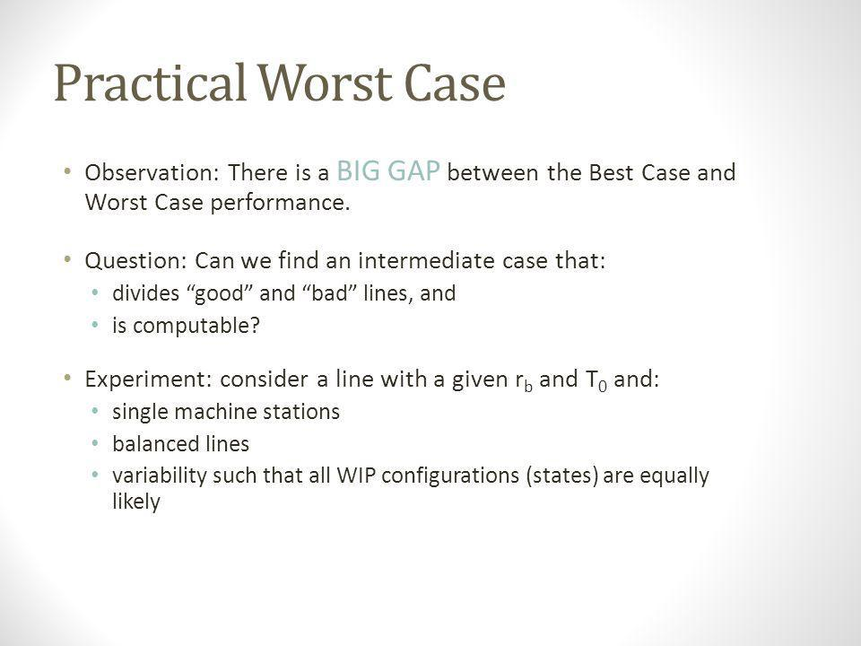 Practical Worst Case Observation: There is a BIG GAP between the Best Case and Worst Case performance.
