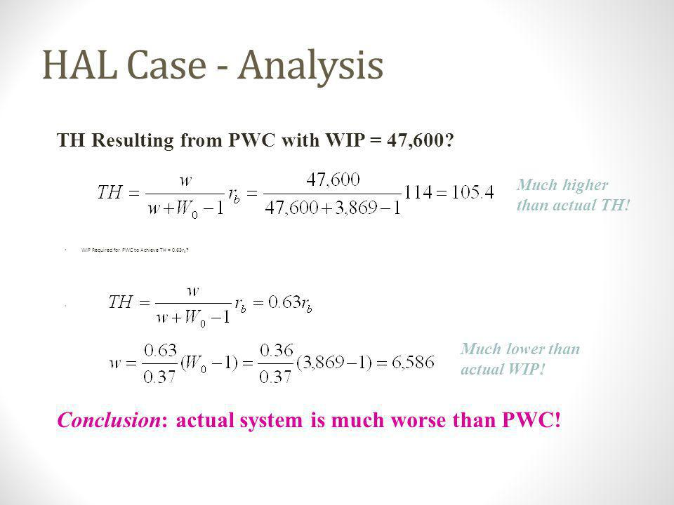 HAL Case - Analysis Conclusion: actual system is much worse than PWC!