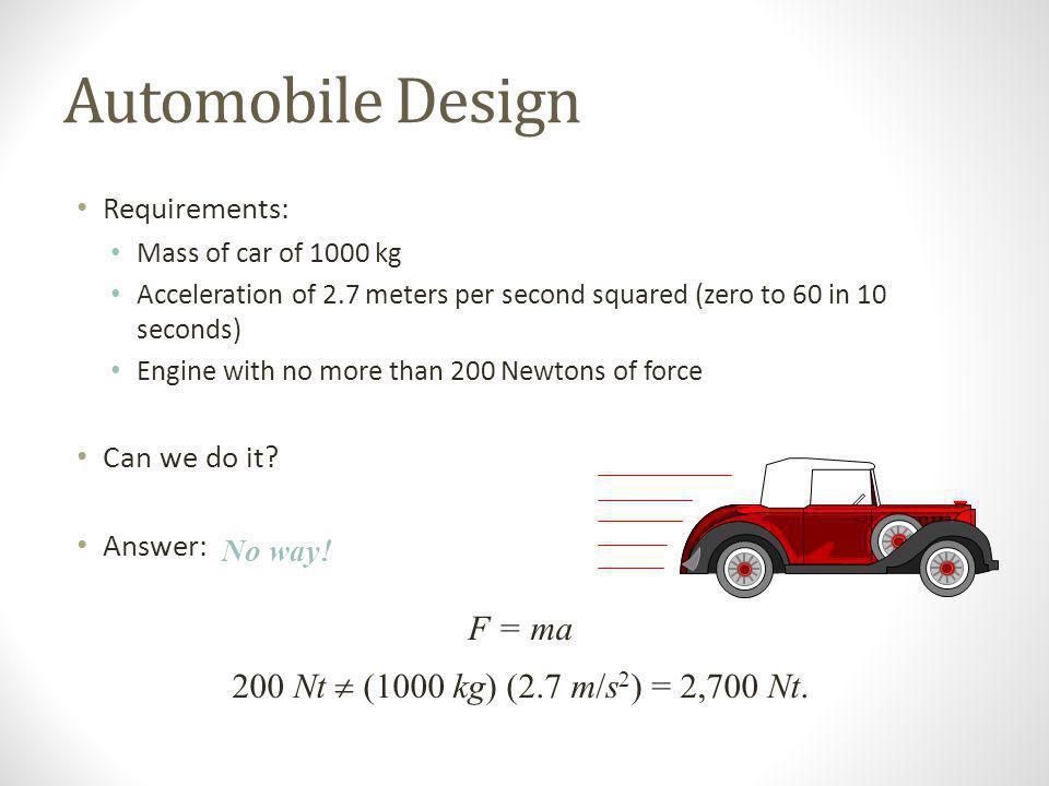 Automobile Design F = ma 200 Nt  (1000 kg) (2.7 m/s2) = 2,700 Nt.