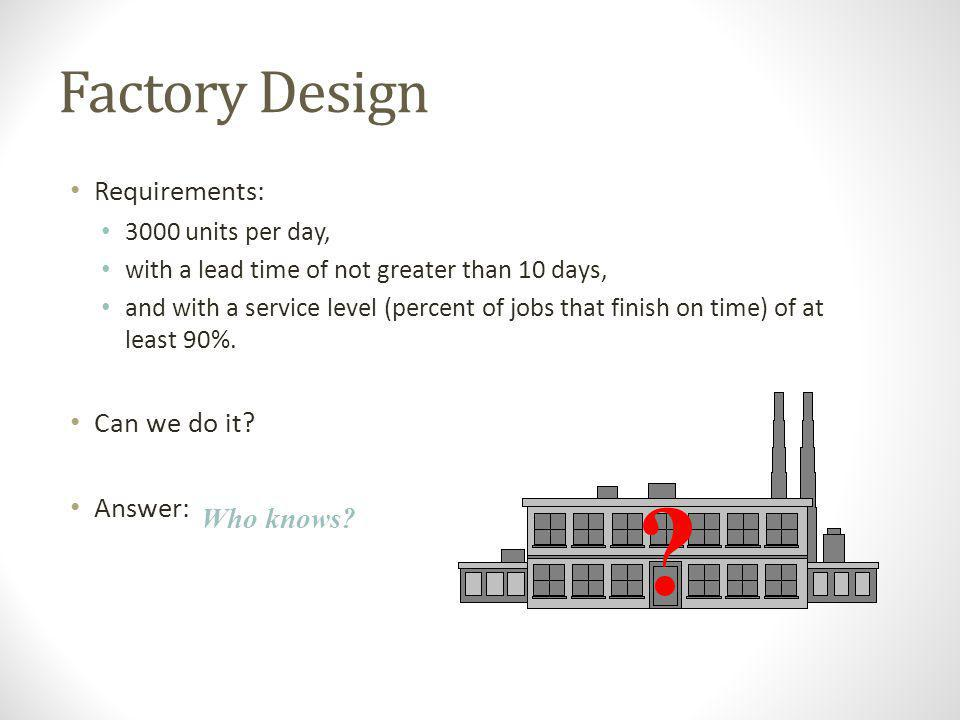 Factory Design Requirements: Can we do it Answer: Who knows