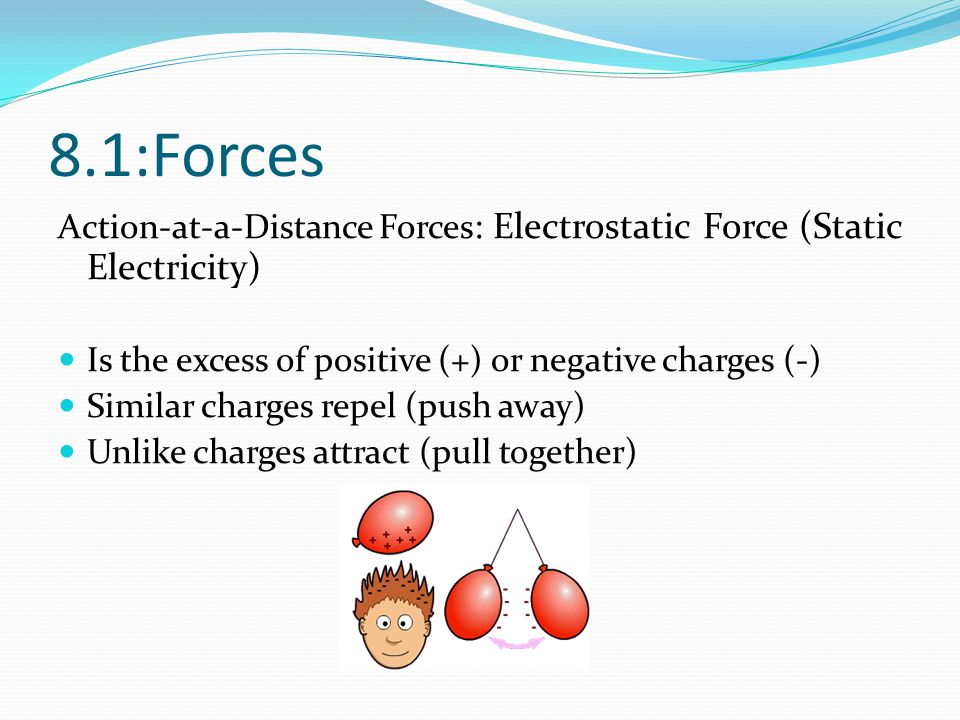 8.1:Forces Action-at-a-Distance Forces: Electrostatic Force (Static Electricity) Is the excess of positive (+) or negative charges (-)