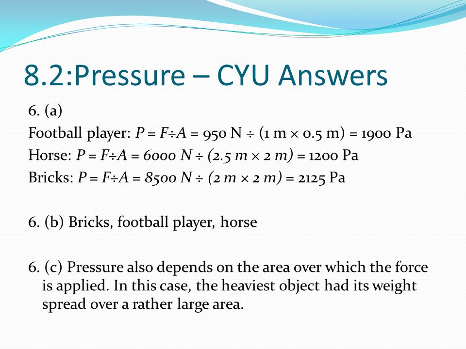 8.2:Pressure – CYU Answers