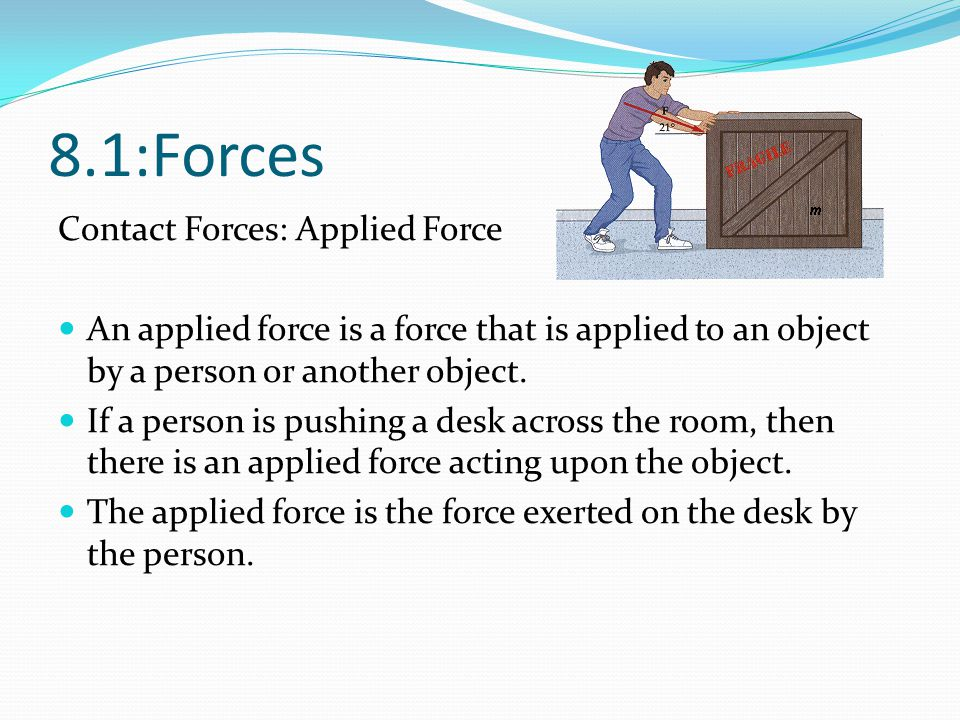 8.1:Forces Contact Forces: Applied Force