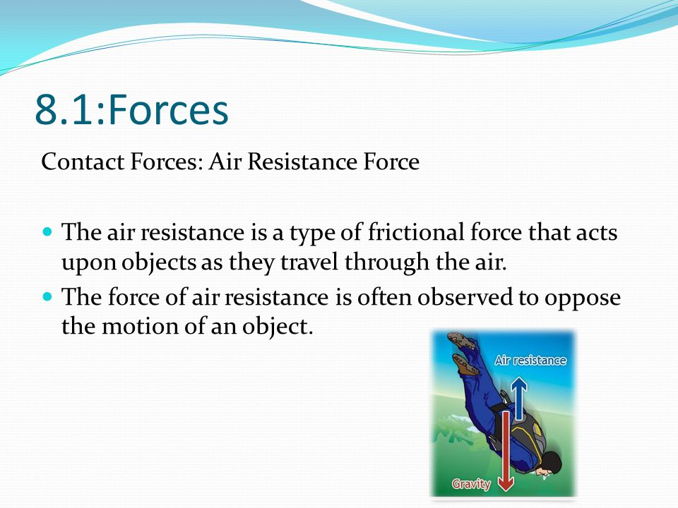 8.1:Forces Contact Forces: Air Resistance Force
