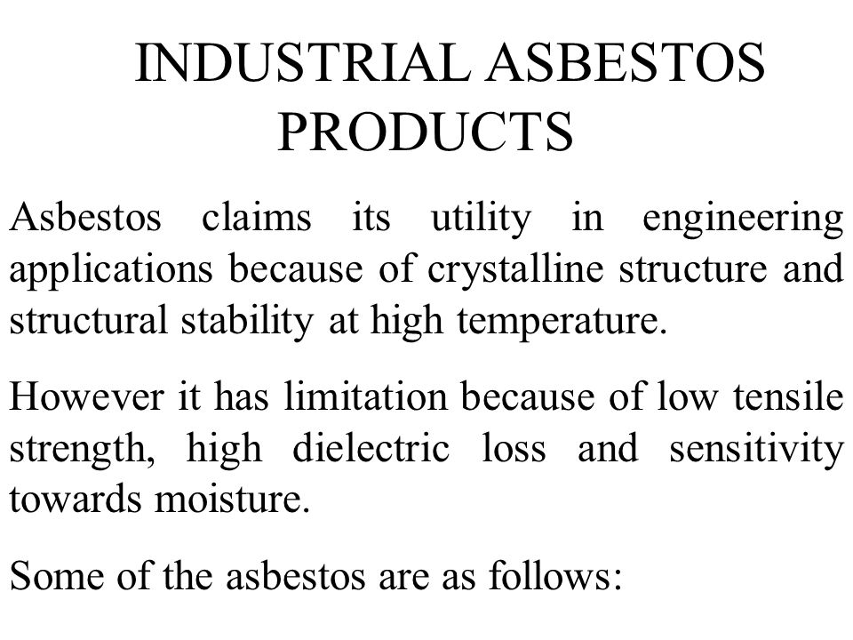 INDUSTRIAL ASBESTOS PRODUCTS
