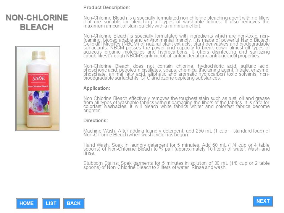 NON-CHLORINE BLEACH Product Description: