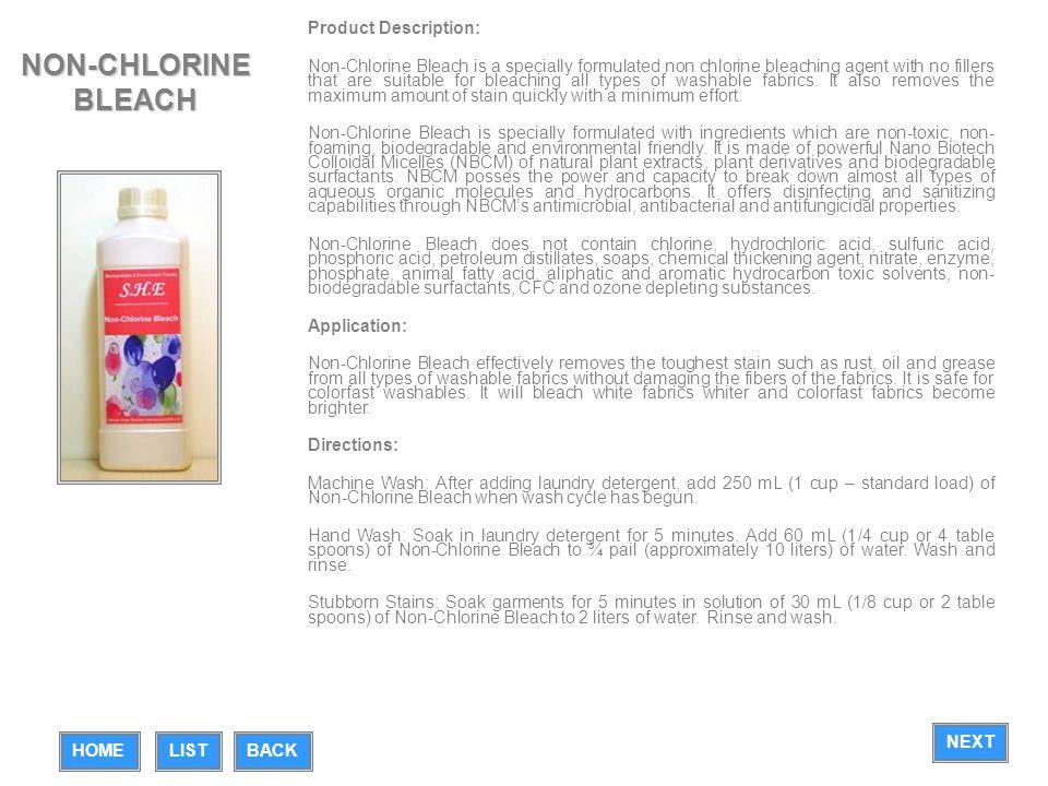 NON-CHLORINE BLEACH Product Description: