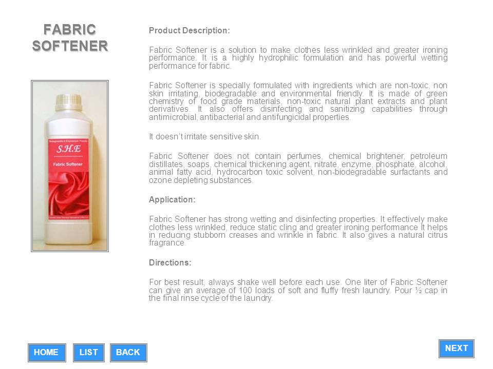FABRIC SOFTENER Product Description: