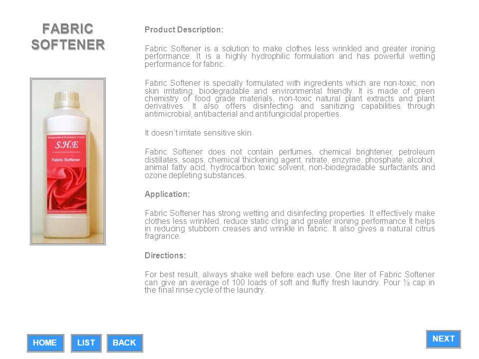 FABRIC SOFTENER Product Description: