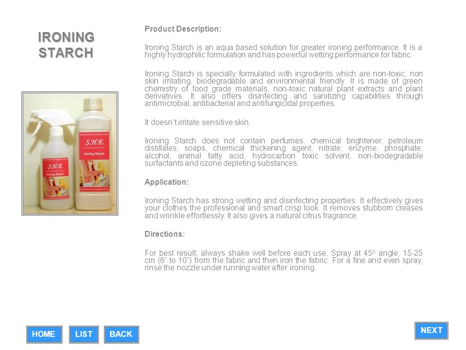 IRONING STARCH Product Description: