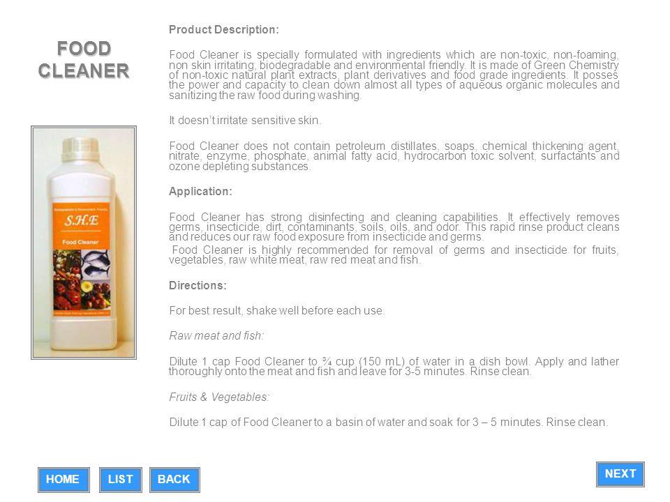 FOOD CLEANER Product Description: