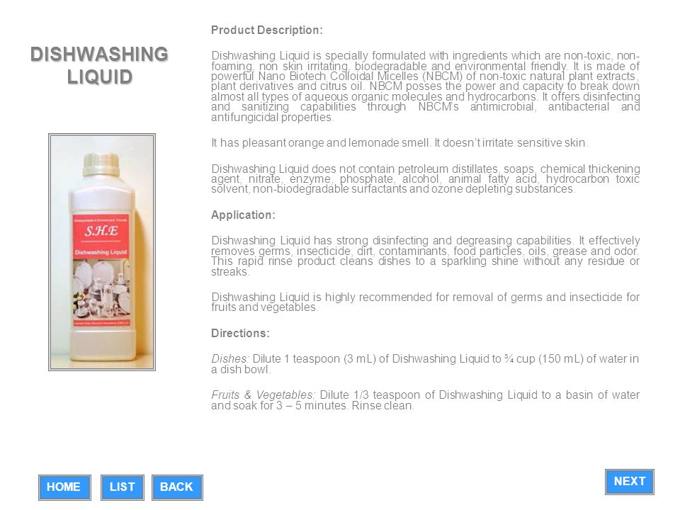 DISHWASHING LIQUID Product Description: