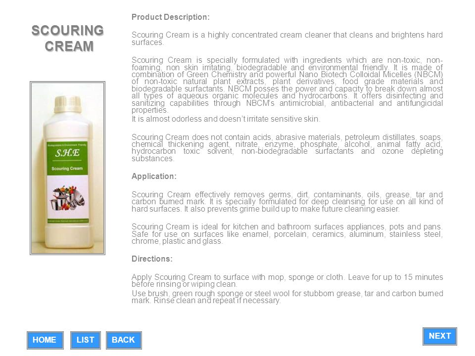 SCOURING CREAM Product Description: