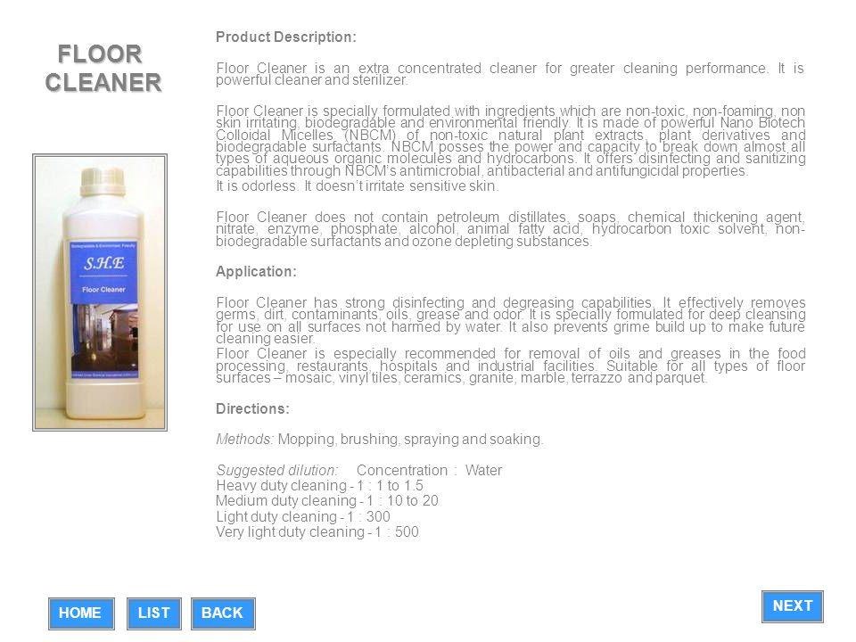 FLOOR CLEANER Product Description:
