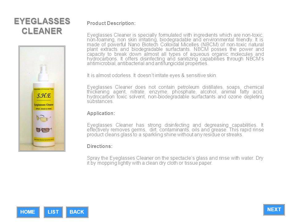 EYEGLASSES CLEANER Product Description: