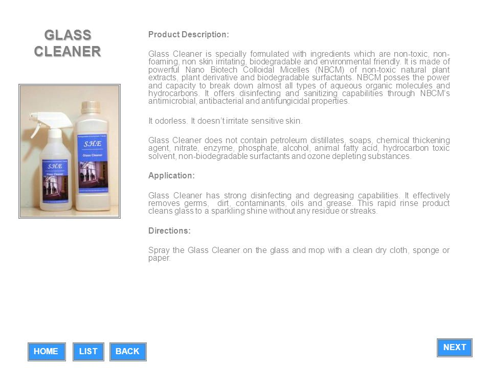 GLASS CLEANER Product Description: