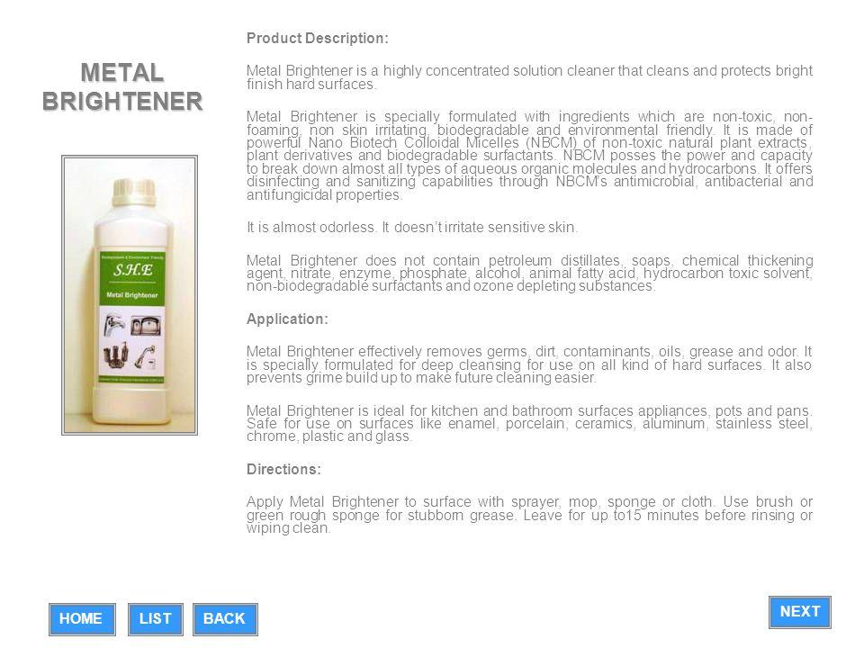 METAL BRIGHTENER Product Description: