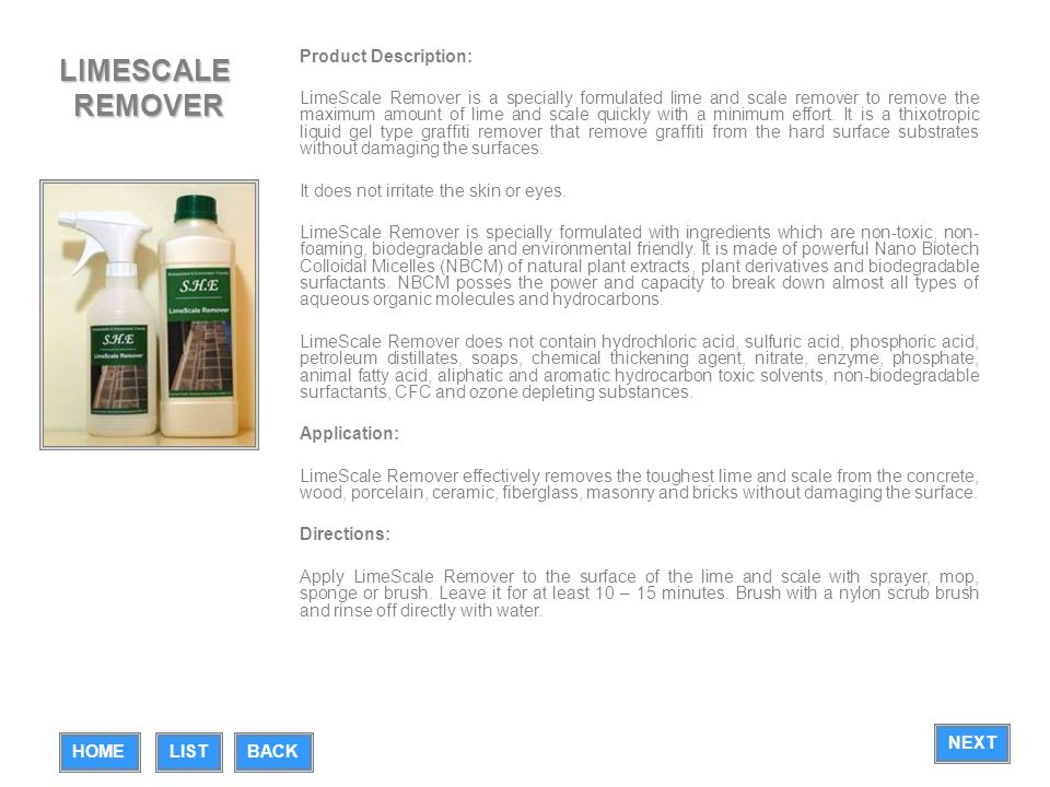 LIMESCALE REMOVER Product Description: