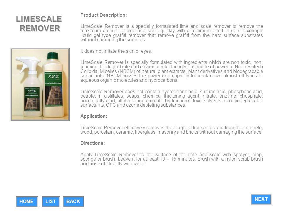 LIMESCALE REMOVER Product Description: