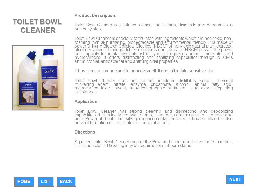 TOILET BOWL CLEANER Product Description: