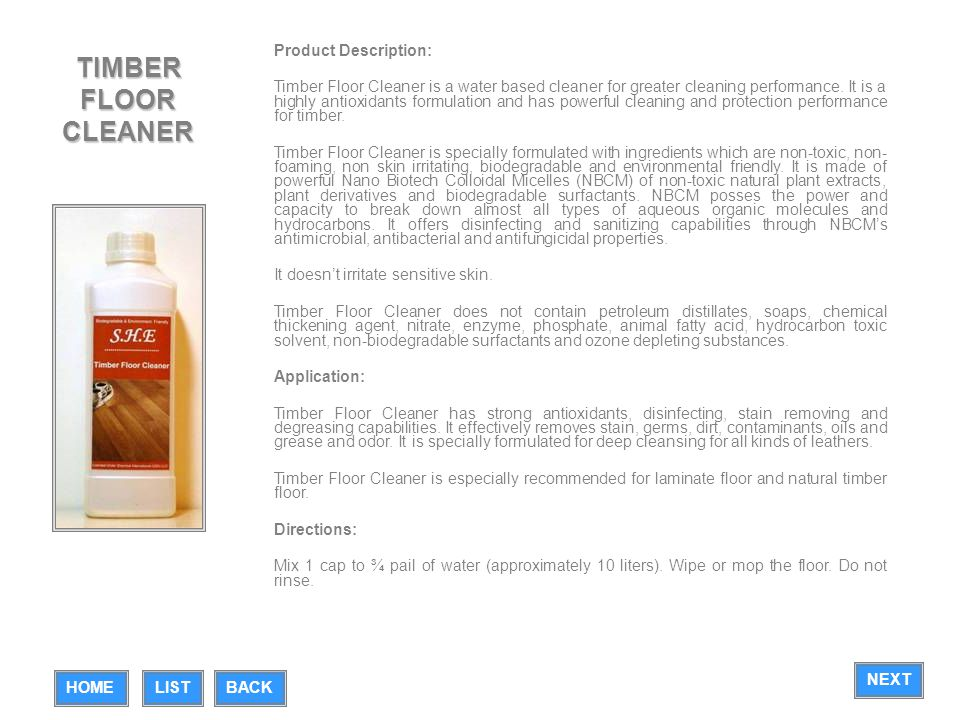 TIMBER FLOOR CLEANER Product Description: