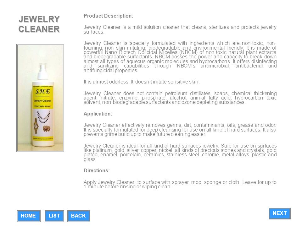 JEWELRY CLEANER Product Description: