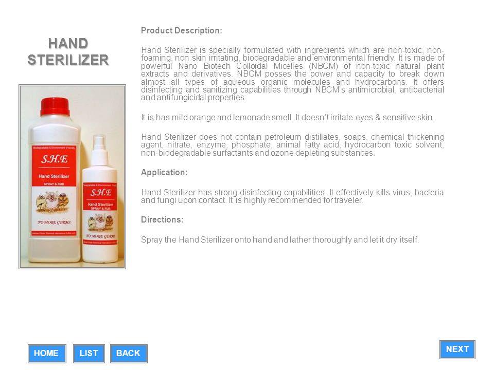 HAND STERILIZER Product Description: