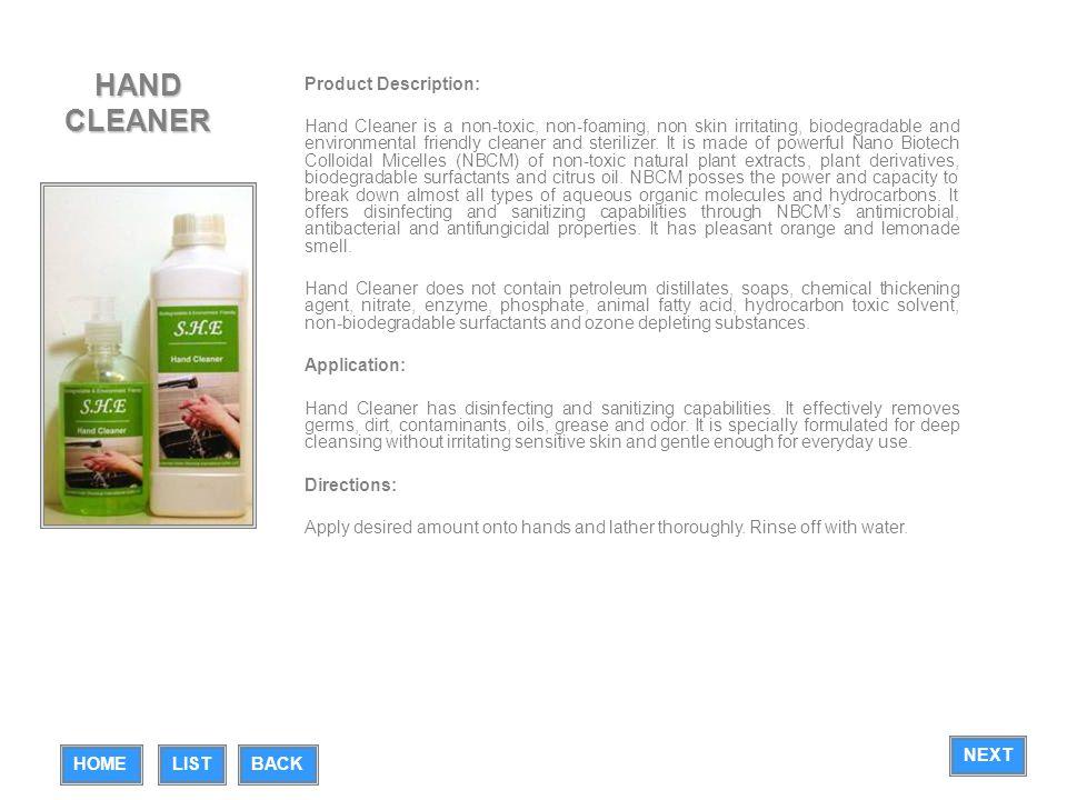 HAND CLEANER Product Description: