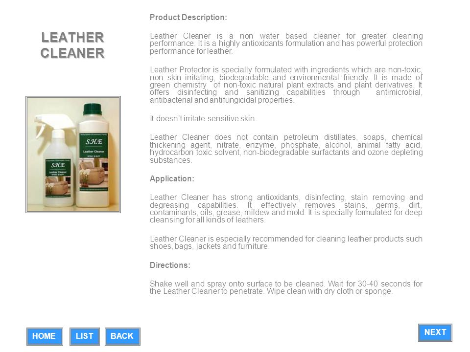 LEATHER CLEANER Product Description: