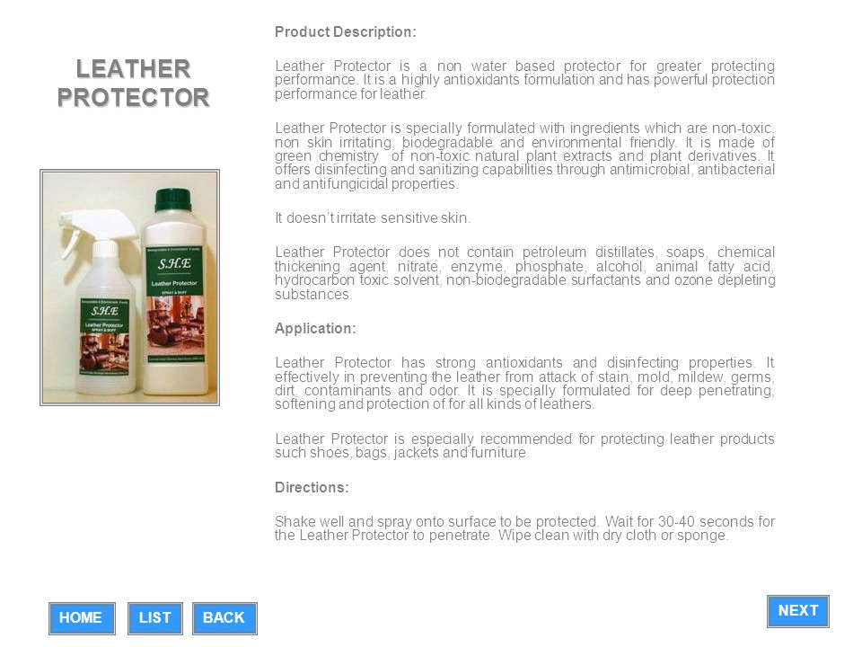 LEATHER PROTECTOR Product Description:
