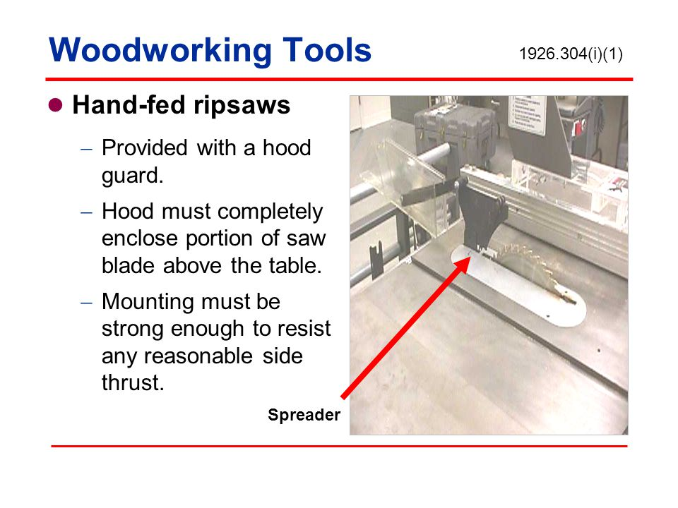 Woodworking Tools Hand-fed ripsaws Provided with a hood guard.