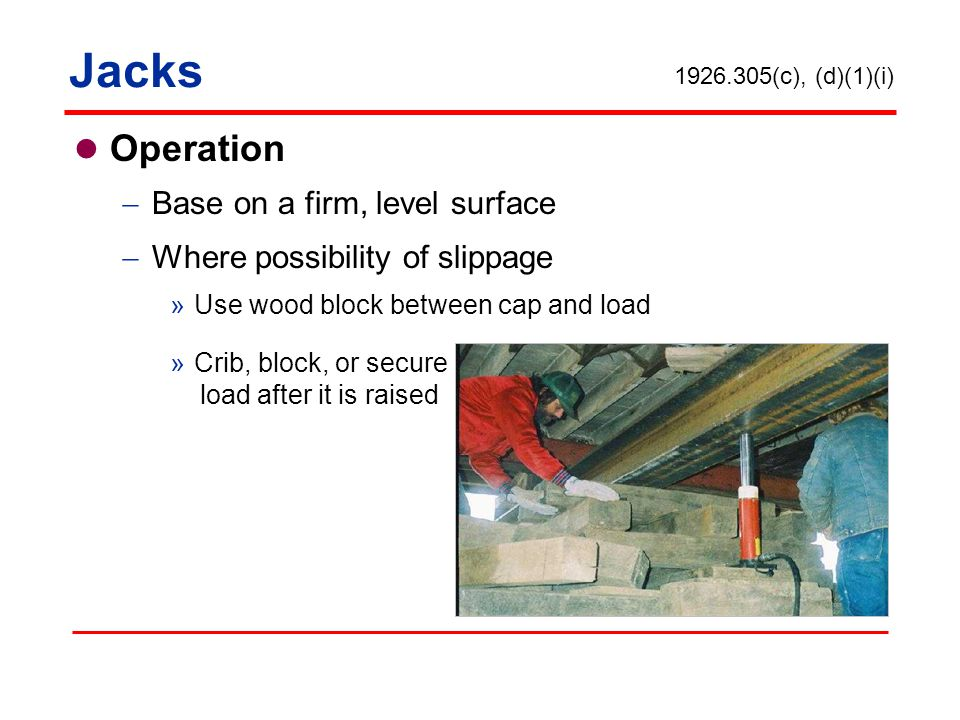 Jacks Operation Base on a firm, level surface