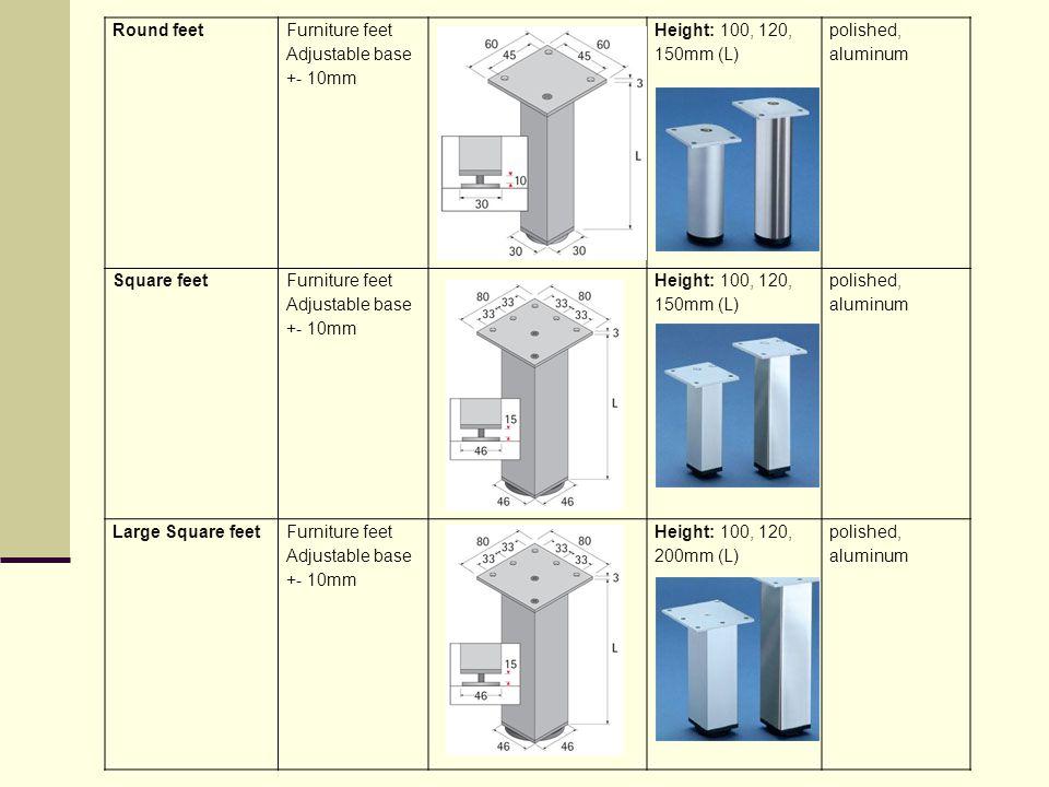 Round feet Furniture feet Adjustable base +- 10mm. Height: 100, 120, 150mm (L) polished, aluminum.