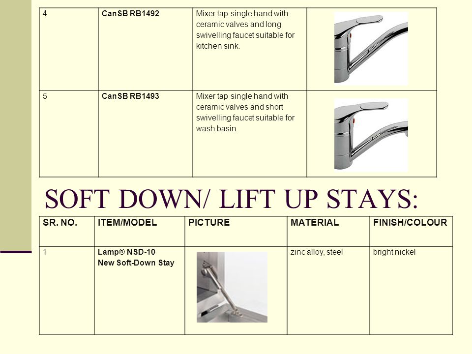 SOFT DOWN/ LIFT UP STAYS: