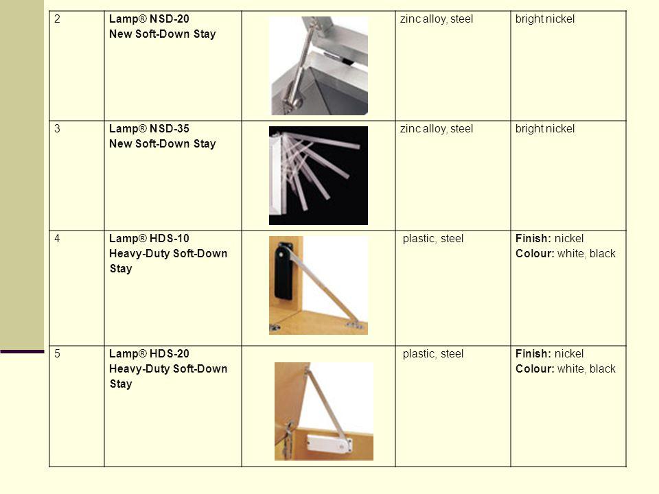 2 Lamp® NSD-20 New Soft-Down Stay. zinc alloy, steel. bright nickel. 3. Lamp® NSD-35 New Soft-Down Stay.