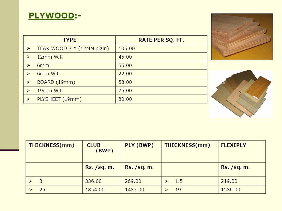 PLYWOOD:- TYPE RATE PER SQ. FT. TEAK WOOD PLY (12MM plain) 105.00