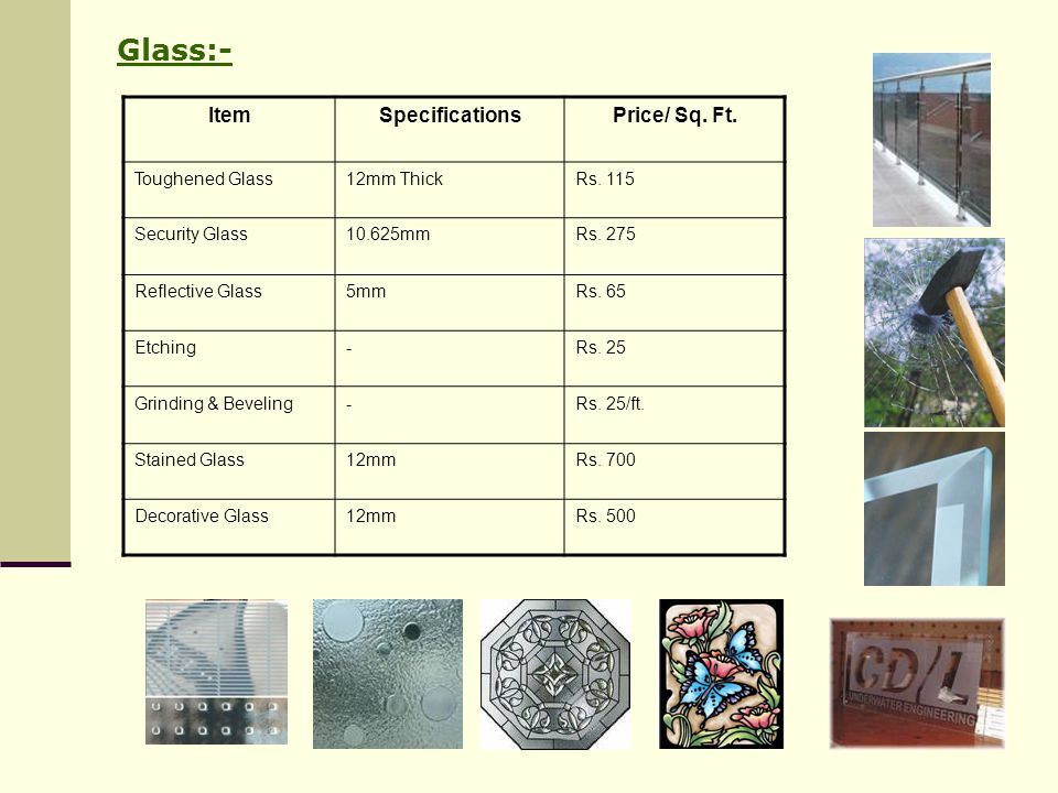 Glass:- Item Specifications Price/ Sq. Ft. Toughened Glass 12mm Thick