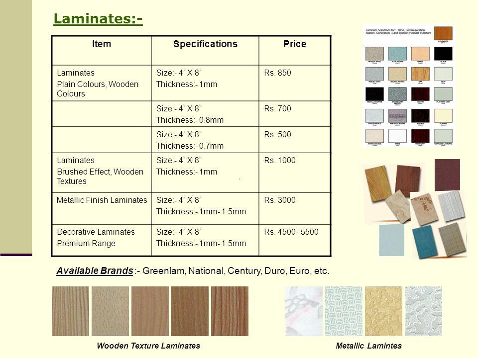 Laminates:- Item Specifications Price