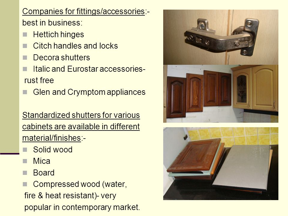 Companies for fittings/accessories:-