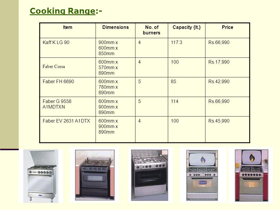 Cooking Range:- Item Dimensions No. of burners Capacity {lt.} Price
