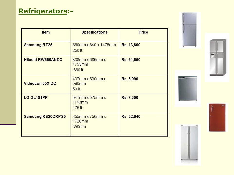 Refrigerators:- Item Specifications Price Samsung RT25