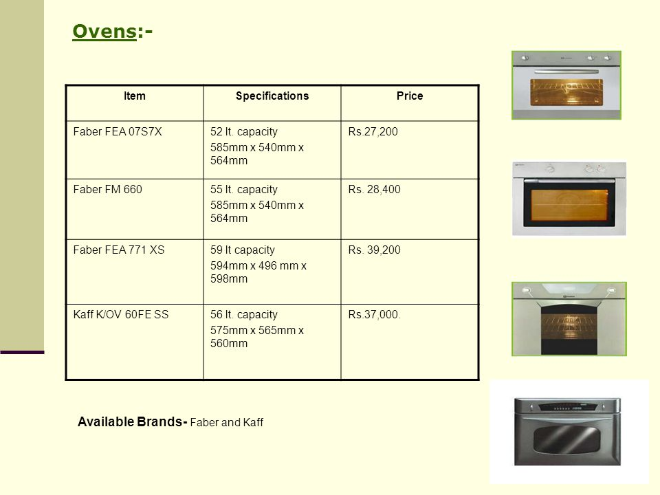 Ovens:- Available Brands- Faber and Kaff Item Specifications Price