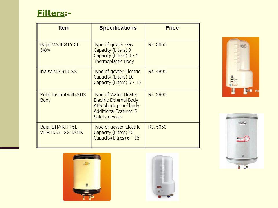 Filters:- Item Specifications Price Bajaj MAJESTY 3L 3KW