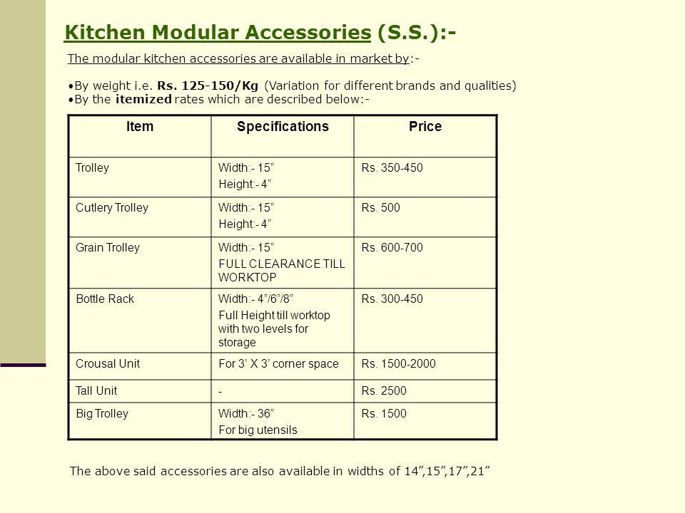 Kitchen Modular Accessories (S.S.):-