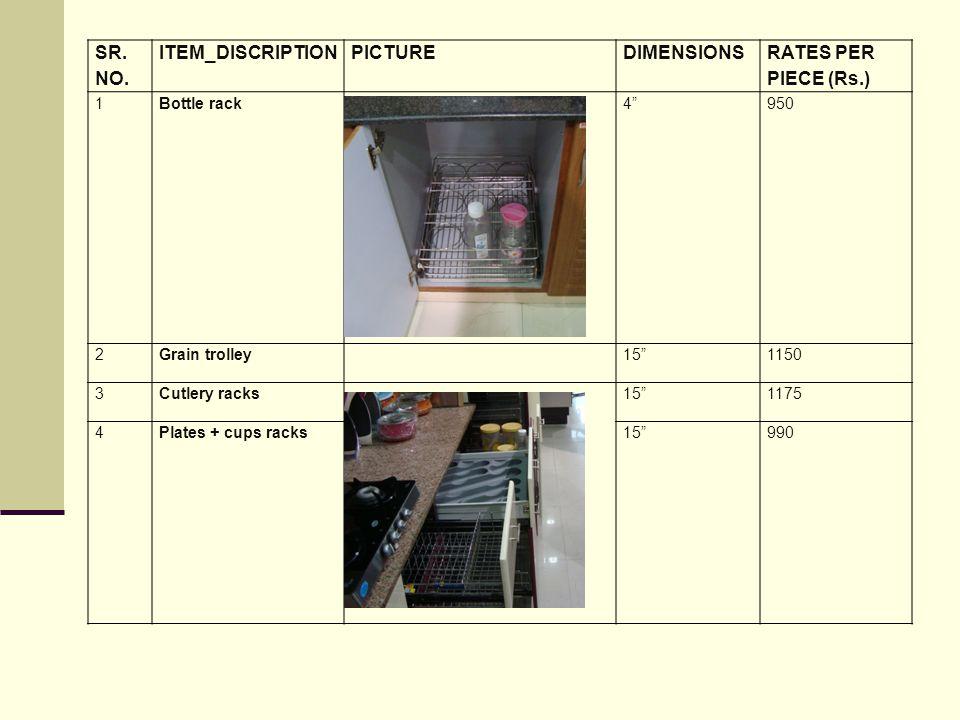 SR. NO. ITEM_DISCRIPTION PICTURE DIMENSIONS RATES PER PIECE (Rs.) 1