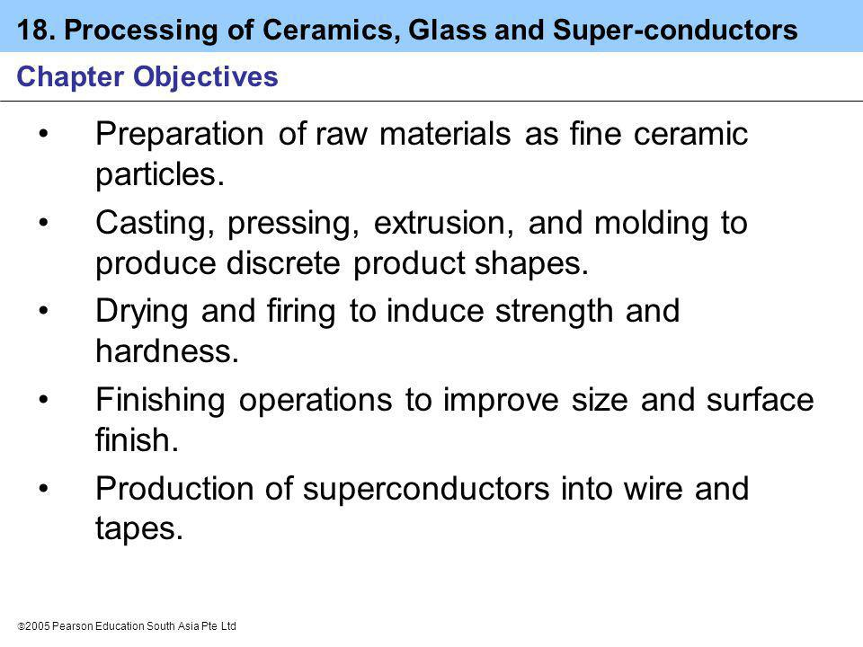 Preparation of raw materials as fine ceramic particles.